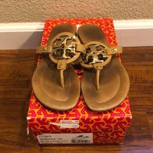 "Tory Burch ""Miller"" 2- patent calf sandal."